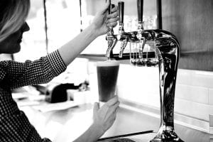 Pouring a beer on tap from J Nichols