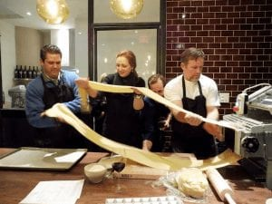 making pasta with Bellina Culinary Club