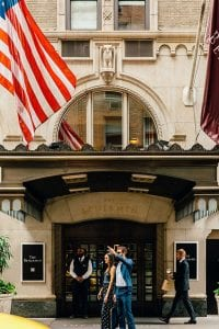 photo of couple outside of The Benjamin hotel