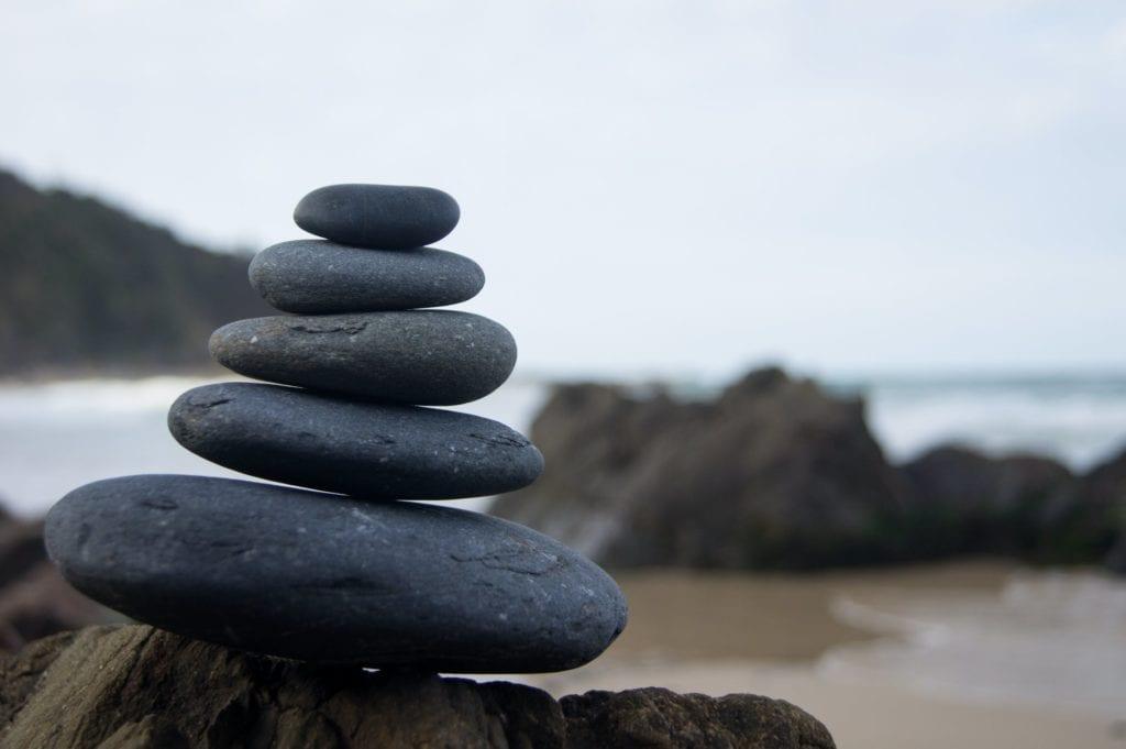 stacked balancing river stones