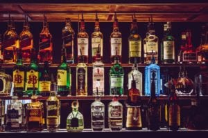 fully stocked back bar