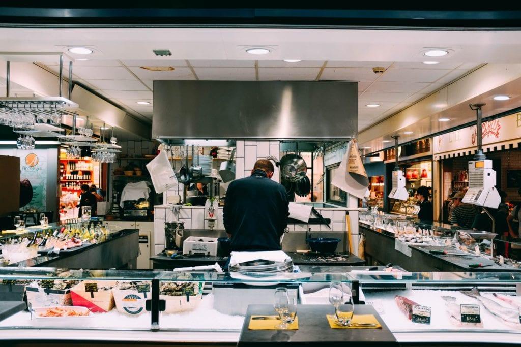 chef in an open kitchen
