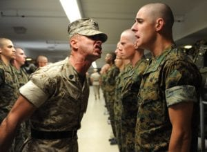 army drill sergeant yelling at cadet