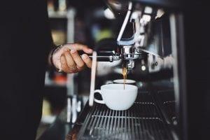 pouring an espresso