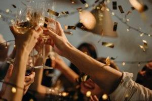 confetti celebratory glass clink