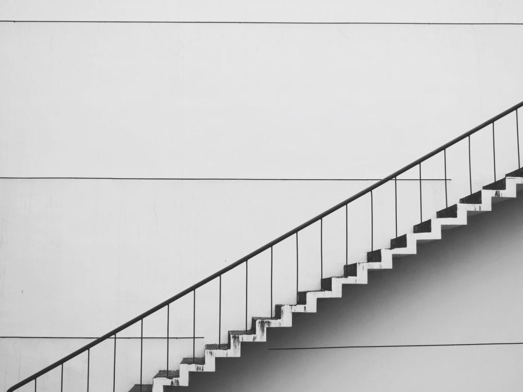 stairs against a plain wall