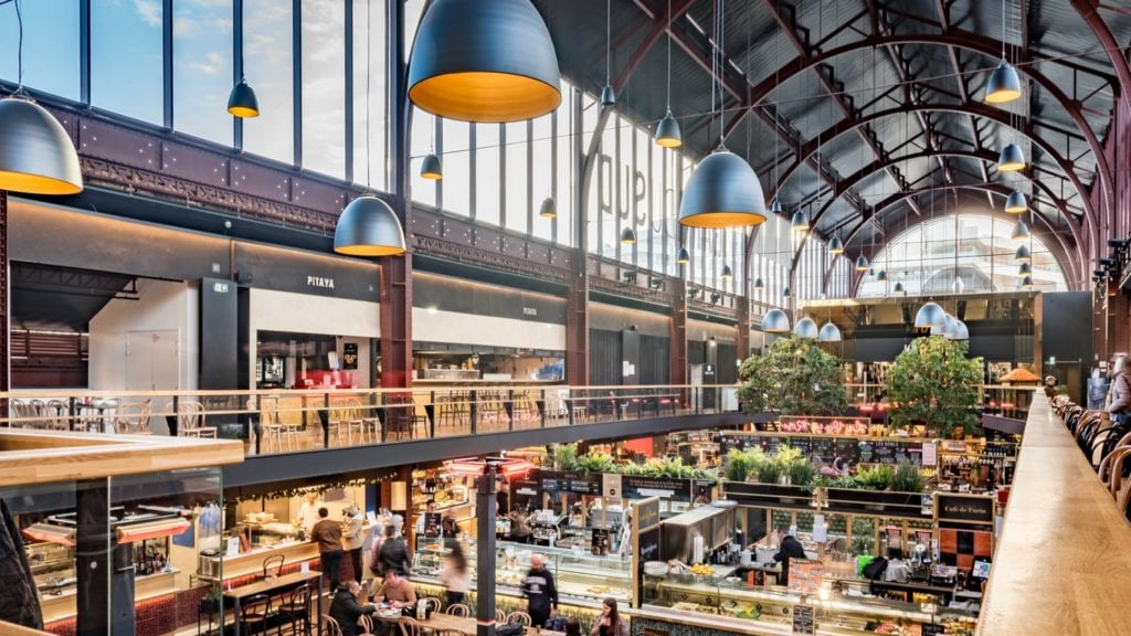 food hall with greenery
